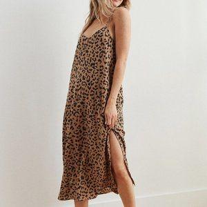 Aerie Gauze Midi Slip Dress in Leopard Print